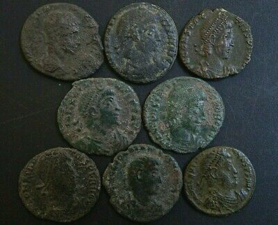 Group of 8 Ancient Roman Imperial Bronze coins, 250-350 Ad. Metal Detector Finds