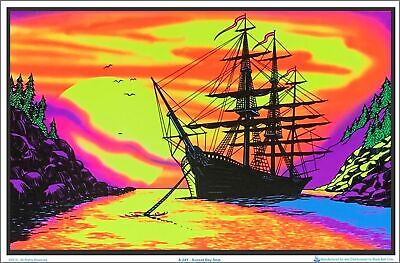 Sunset Bay Ship Blacklight Poster 35 x 23