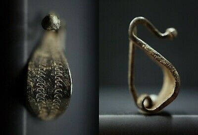 Ancient Celtic Bronze Fibula. Richly decorated Arc-shaped Brooch, c 100-50 Bc.