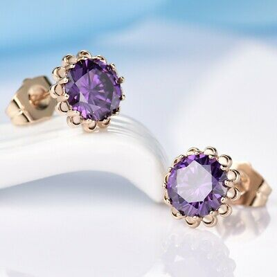 Dignified 18k Yellow Gold Filled Stud Earrings Purple Topaz Round Women Jewelry
