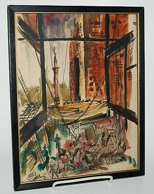 Mid Century Abstract Expressionist Original Watercolor. Cityscape.