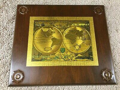 Vintage Nautical World Map Plaque Wooden Boat Wheel Maritime Bar-Gan Products