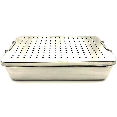 Stainless Steel Sterilization Tray 16'' x 8'' x 4 '' Top & Bottom Perforated