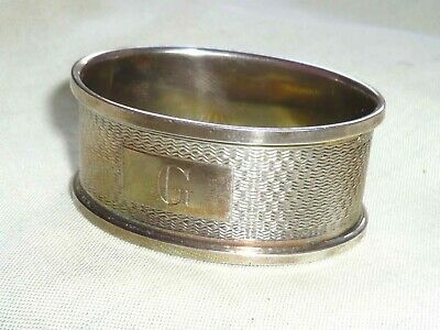 Solid Silver Napkin Ring - Fully Hallmarked Birmingham 1977 by B&Co - Engraved G