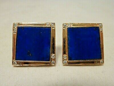 Impressive  Ladies 18K Gold  Lapis Lazuli & Diamond Pierced  Earrings