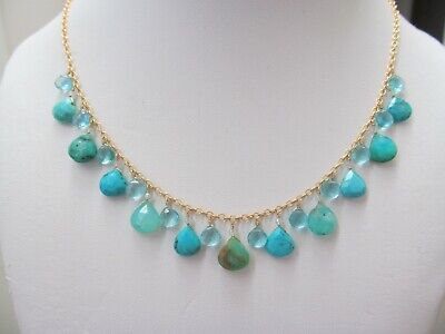25Ct Genuine Natural Blue Peruvian Opal W/ Sb Turquoise Gold Filled Necklace Set
