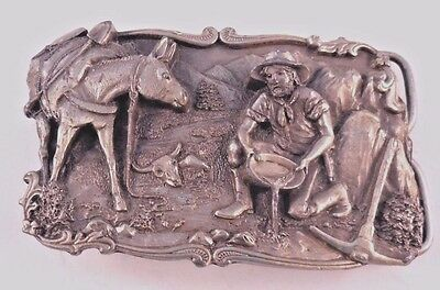 Gold Rush 3D Collectible Pewter Belt Buckle Arroyo Grande Buckle Co. 1981