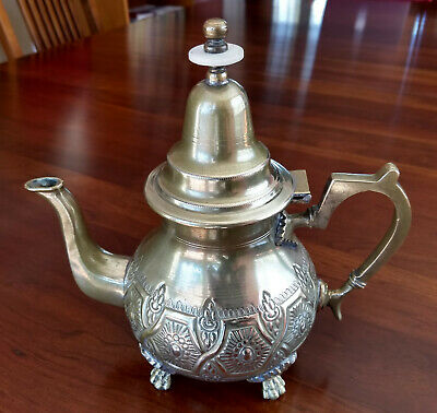 Vintage Large Moroccan Teapot Silver Plated Brass Signed Amed El-Houar Fes