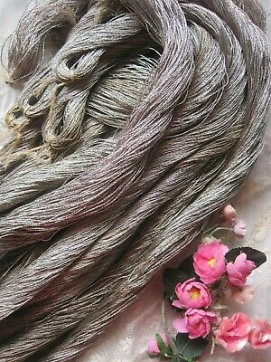 Antique French Dark Silver Metal Thread Skein, Huge Yardage