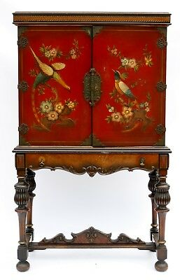1930 Antique Hand Painted Lacquer Cabinet W/ Bird & Floral Motif