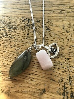 Labradorite moonstone with rose quartz and Evil Eye long silver necklace