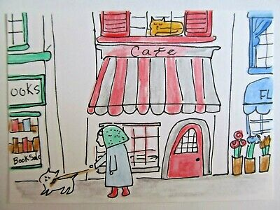ACEO Original Watercolor Cat A Dog Walk Cafe Woman Signed by Artist MiloLee