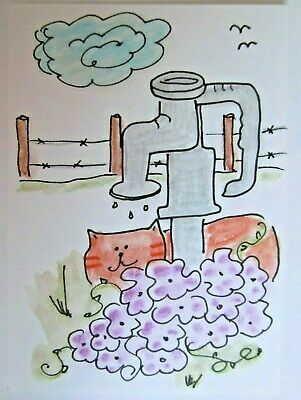 ACEO Original Watercolor Cat At The Water Pump Flowers Signed by Artist MiloLee