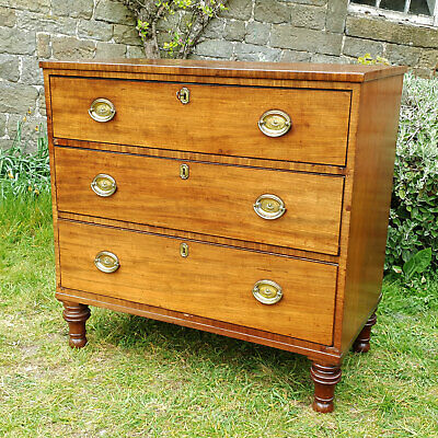 George III Small Mahogany 4 Height Chest of Drawers C1800 (Georgian Antique)