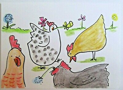 ACEO Original Watercolor Spring Chickens Pecking Farm Signed by Artist MiloLee