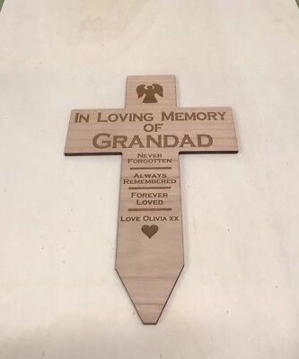 Personalised Memorial Remembrance Grave  Wooden Cross Grandad Dad Mam Funeral