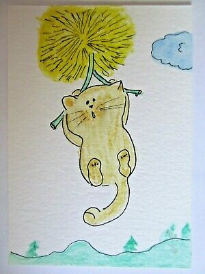 ACEO Original Watercolor Cat Dandelion Flight Floating Signed by Artist MiloLee