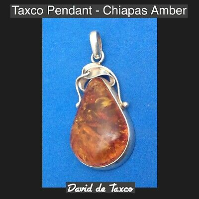 Taxco 925 Sterling Silver Amber From Chiapas Pendant in the Shape of A Raindrop