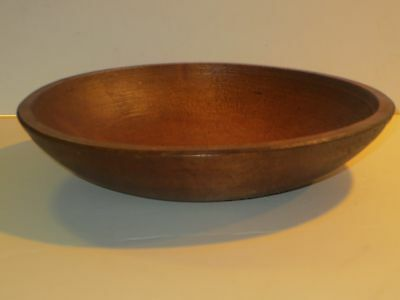 Antique Wooden Dough Bowl With Turned Rim, Nice Age Patina & Excellent Cond