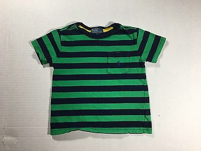 Polo Ralph Lauren YOUTH Boys 2T Green Navy Striped Polo Shirt Button Up Pony