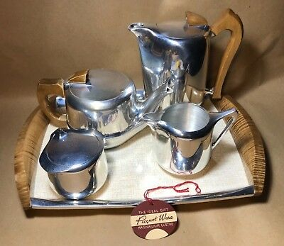 Vintage Four Piece Piquot Ware Tea Set with Matching Tray Art Deco style 1950's