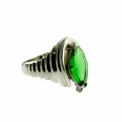 Marquise Faceted Stone Green Helenite Sterling Silver Ring Jewelry