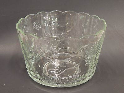 Heavy Clear Pressed Glass Serving Bowl Birds, Hearts, Butterflies, Tulips Emboss