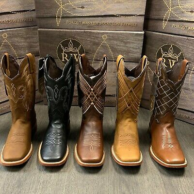 Men's Rodeo Cowboy Boots Genuine Leather Western Square Toe Bota Ranch Saddle