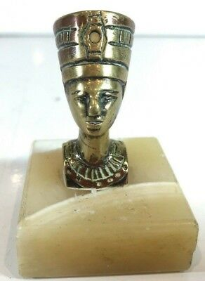 VINTAGE Egyptian Queen Nefertiti Onyx Marble Stone & Brass Head PAPERWEIGHT