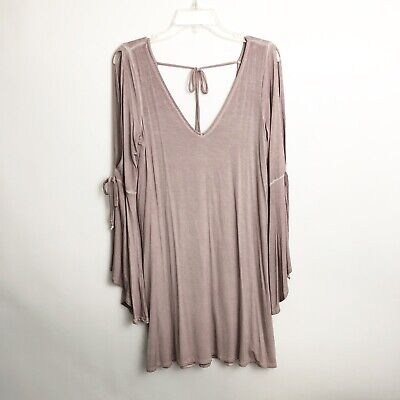a291a6f86fc American Eagle Outfitters Shift Dress Sz M Dusty Pink Bell Sleeves Cold  Shoulder