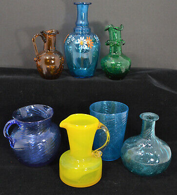 7 Hand Blown Glass Pieces Bottles Pitcher Cup Pontils Swirl Hand Painted
