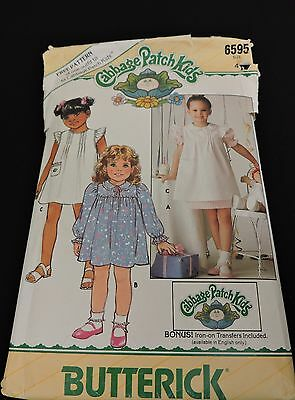 Cabbage Patch Sewing Pattern 6595 Girls Outfit Size 4 Doll Outfit 1984 Butterick