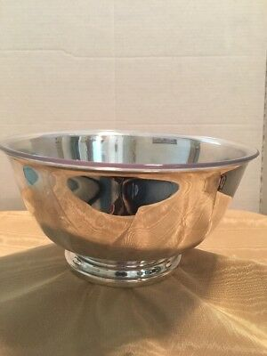 """PAUL REVERE REPRODUCTION Silver Plate  8"""" Footed Bowl/liner Oneida  USA!"""