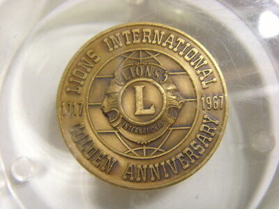 1917 1967 Lions international golden anniversary paperweight for peace  fv1557