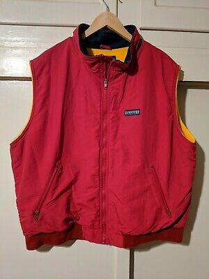 VTG Land's End Men's SQUALL Jacket Heavy Vest Red Size XL Polartec Fleece Lined