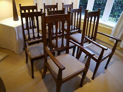 8 Scottish Arts and Crafts Dining Chairs by Joseph Johnstone of Lochwinnoch 1906