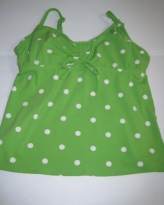 f6a19e5014 Lands End Womens Tankini Swim Top Underwire Bra Green Polka Dot Size 4