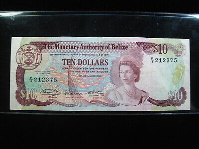 Belize $10 1980 P40 Dollars Qeii 36# Bank Currency Banknote Money