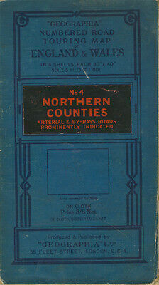 "Geographia Numbered Road Touring Map No.4 Northern Counties 5 miles to 1"" c1936"