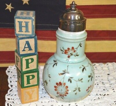 1884 Patd Antique Victorian Milk Glass Syrup Pitcher Hand Painted Green & Floral