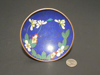Vintage Chinese Cloisonne Enamel Brass Small Blue Bowl with Floral Design