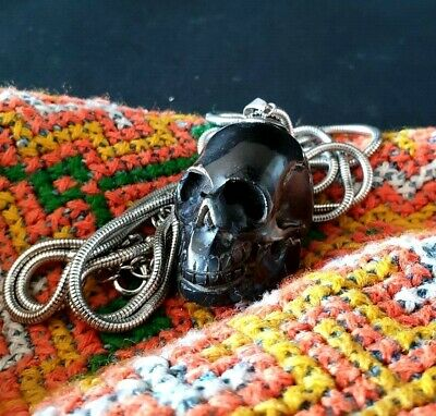 Old Tribal Carved Black Buffalo Horne Skull on Neck Chain …beautiful collection