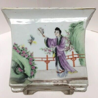Antique Chinese Famille Porcelain Planter Hand Painted Figure Signed Calligraphy