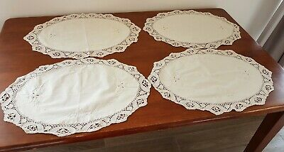 Vintage 80s 4 x CREAM FLORAL Embroidered Lace CROCHET Edge TABLE PLACEMATS