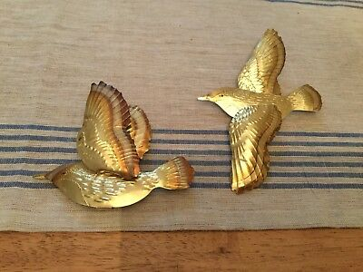 Vintage Tin Brass Tone Set Of 2 Bird Wall Decor Ornaments