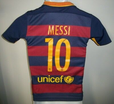 99045d0cd38 Yth Boys Nike Lionel Messi #10 Barcelona FCB football soccer jersey sz. 22 (