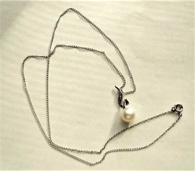 "Vintage Solid 14K White Gold Chain & 7mm Pearl Pendant Necklace 16"", 1.35g"