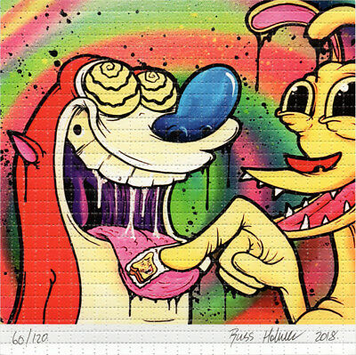 Ren and Stimpy Don't Eat The Toasterman by OverDosed Signed #ed BLOTTER LSD ART