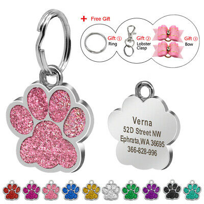 Personalized Dog Tags Engraved ID Tag Bling Paw Glitter Free Hair Bow 9 Colors