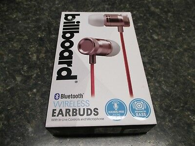 BILLBOARD BLUETOOTH WIRELESS Earbuds With Controls & Microphone